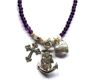 Hope Faith and Charity Necklace, Vintage Locket Necklace, Silver Crucifix Necklace, Antique Anchor Pendant, Silver Charm Necklace, UK Shop