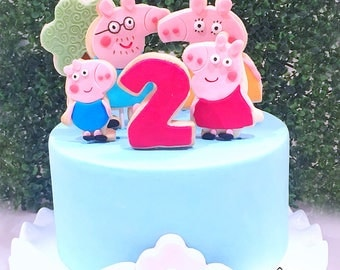 Peppa Pig Cookie Topper - Peppa Pig Cake Topper - Birthday - Baby Shower - Peppa Pig Cookies - Cookie Topper - Cake Decorating