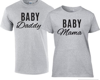 Baby Mama and Baby Daddy Shirts, Pregnancy Announcement Shirt Set - 256