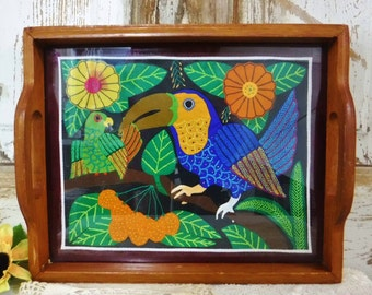 Decorative Serving Tray/Wood Serving Tray w/Handles/Glass and Wood Tray/70's Decor/Fabric Applique under Glass/Bird/Flowers/Tropical/Vintage