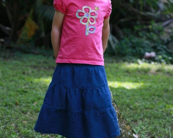 Girls Long Tiered Denim Skirt | Custom Size