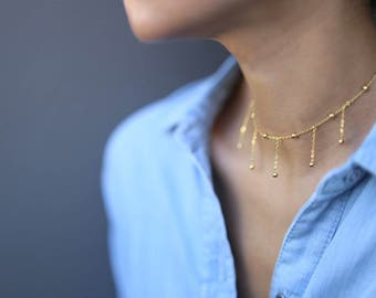 Gold Beaded Ball Dangle Choker Necklace  // Satellite Necklace // Dew Drop Choker Necklace // Gift for her