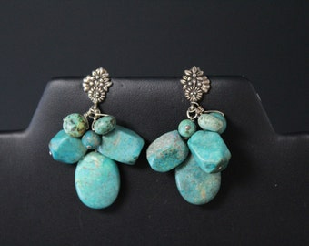 Sterling Silver Barse Turquoise Dangle Flower Earrings