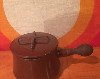 Vintage Dansk Kobenstyle Brown Enamel Pan with Lid, Butter Warmer, Sauce Pan, Dansk IHQ Enamel Pot, Jens Quistgaard Enamelware, Wood Handle