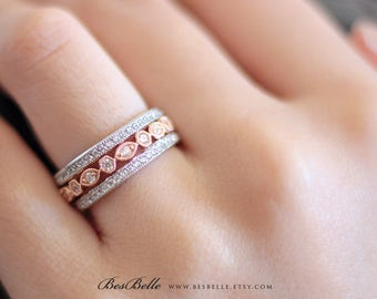 Three Art Deco Eternity Band Set-1.56 ct Pave Diamond Simulants-All Around Stone-Wedding Band-Rose Gold Plated-Sterling Silver [61662TT-3]