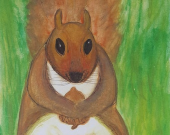 Squirrel Original Watercolor Print Greeting Card and Envelope