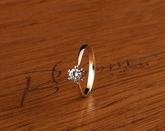CZ Engagement Ring 14K Yellow Gold Ring Cubic Zirconia Ring Solid Gold BloomDiamonds