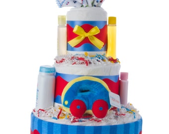 Away We Go Boy Diaper Cake by Lil' Baby Cakes
