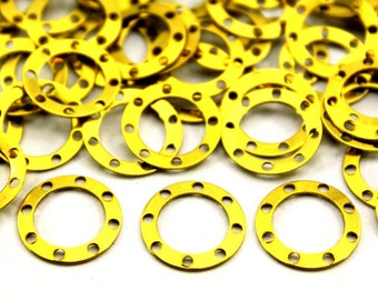 100 pcs 13 mm Round Eight Side Hole Raw Brass Original Color