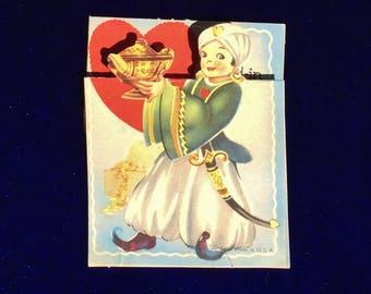 1940's Aladdin Valentine Card with Genie Lamp