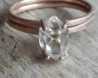 rose gold herkimer diamond wedding set bridal set rose gold fill wedding rings - Stone Wedding Rings