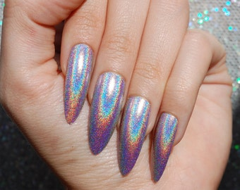 Holo XL Extra Long Stiletto Almond Nails - COLOR OPTIONS - Set of 20 - holo nails, holographic nails, fake nails, extra long stiletto nails