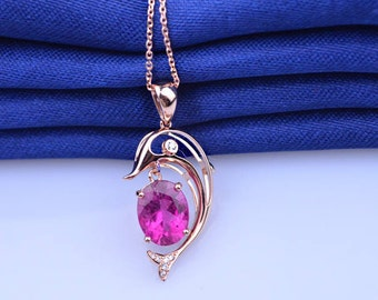 Dolphin Red Tourmaline and Diamond Pendant Necklace in 18k Rose Gold Wedding Birthday Valentine's Mother's Day