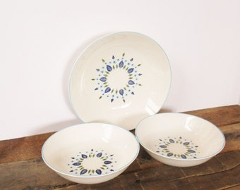 Serving Bowl and 2 Soup Bowls by Stetson Marcrest in the Swiss Alpine Pattern. Mid-Century Modern Blue and Green China.
