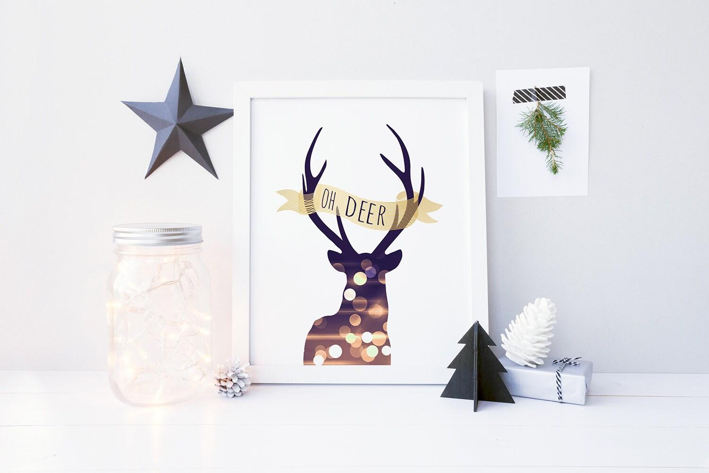 Oh deer print christmas artwork antler home decor christmas for Antler decorations for home