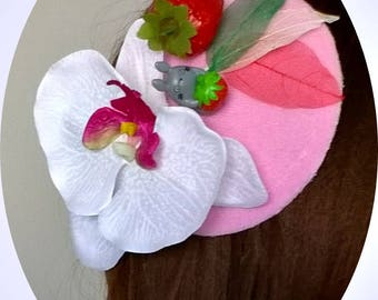 Mini hat Totoro with Strawberry and Orchid, fascinator, Christmas, Carnival, Valentine's Day, New Year, costume party, mini hats