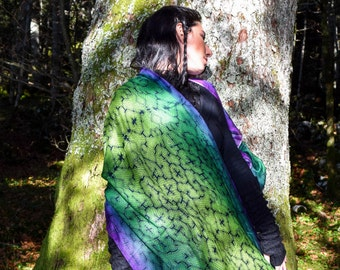 Shipibo scarf, Modal silk scarves, gift for her, shawls, Hand Painted scarf, soft scarf, sacred geometry, Ayahuasca scarves, psychedelic