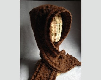 Alpaca Hooded Scarf - Hand-knit - with Celtic Cables - Chestnut Brown
