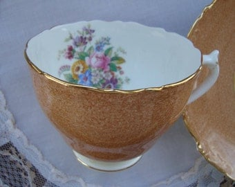 Coalport - Bone China Made in England - Vintage Tea Cup and Saucer - Cinnamon Brown on White with Gold Trim