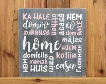 """HOME in different languages - or set of 3 """"Love, Family, Home"""" - Handpainted - Housewarming, Engagement, Wedding gift - Country rustic decor"""