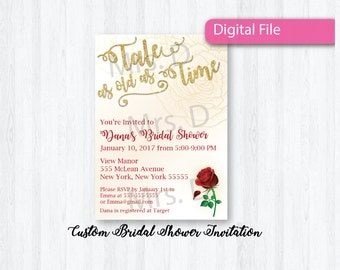 Beauty and the Beast Bridal Shower Invitation - Tale as old as Time - Digital File