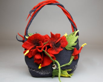 Handbag with Hibiscus Flower/ Shouder Bag / Felt bag /Handmade Bag /Wool Felted Bag /Nuno Felt /Wool and Silk / Unique item / Free shipping.