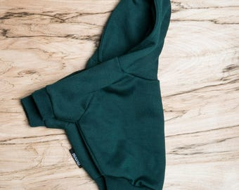 SALE PRICE - one size only - Dog / cat Hoodie - Dark Green -  Handmade pet clothes - Ideal for dogs,  puppies and cats