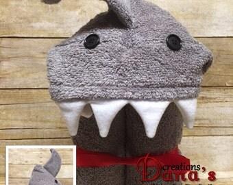 Shark Hooded Towel ~ Shark Birthday ~ Jaws Birthday ~ Boy Birthday ~ Pool Towel ~ Bath Towel ~ Beach Towel ~ Shark Week Towel