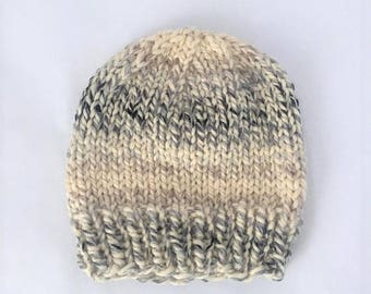 Chunky Wool Knit Beanie, Wool Beanie, Hand Knit Hat - Cream w/ Gray (Adult)