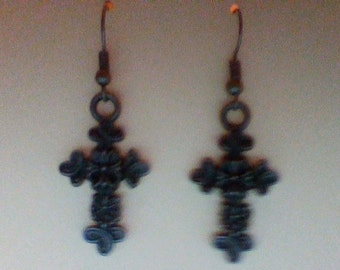 Antique Silver Ornate Cross Earrings