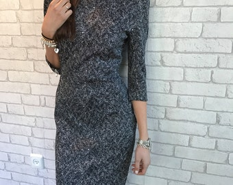 Midi Pencil Dress, black and White Dress - Nely- Sizes: S,M