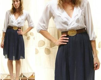Vintage 70s Sheer White & Navy Blue, Classic Midi Dress with Ruffled V-neck