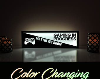 Gaming in Progress Sign, Custom Video Game Sign, Video Game Decor, Kids Room Sign, Playstation, Gamer Sign, Personalized Kids Room Sign
