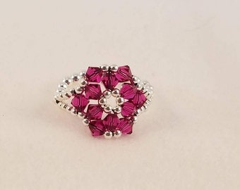Fuschia Crystal and Sterling Silver Ring Size 7 3/4
