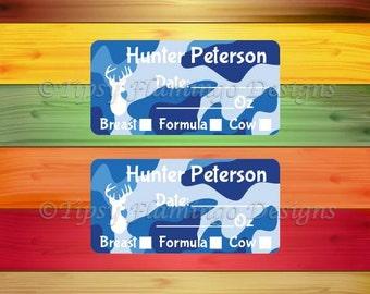 160 Removable Baby Bottle Labels, Personalized Breast Milk Labels for Babies, Formula Labels, Daycare Labels, Milk Labels, Blue Camo -TFD474