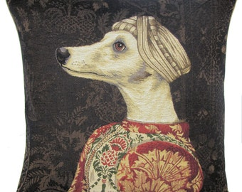 Greyhound belgian  tapestry gobelin throw pillow cushion cover whippet portrait inspired by Piero della Francesca  - PC-5616
