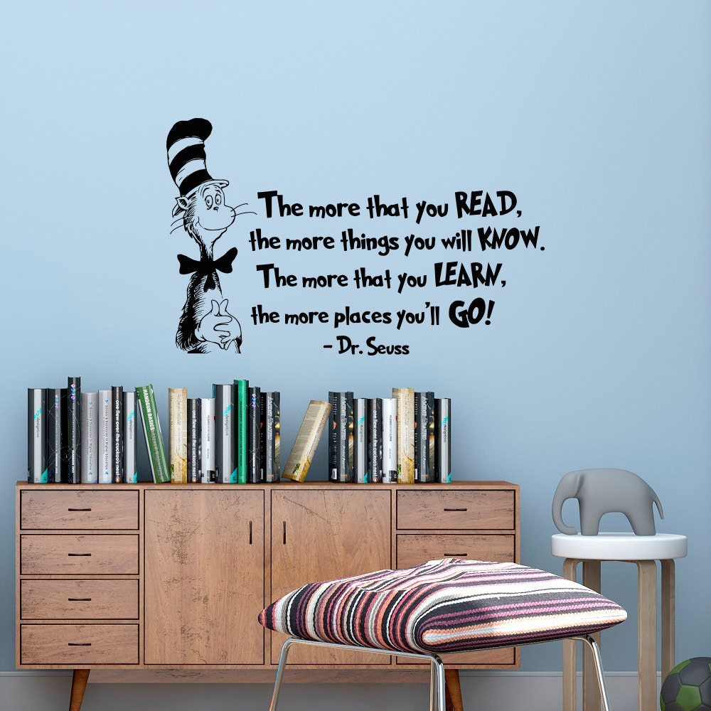 the more that you read wall decal dr seuss quotes cat in the details the more that you read wall decal dr seuss quotes