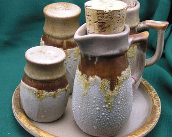 Laurentian Pottery Tundra series - Oil, Vinegar, Salt & Pepper with tray - Canada Mid Century Modern Fat Lava