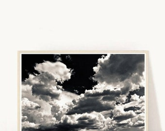 Clouds Photo, Printable Art, Abstract clouds, Abstract Photo, Black and White,  Sky Photography, Instant Download, Printable Photo, Wall Art