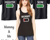 Mommy & Me Matching Battery Shirt Set - Mommy Daughter - Mommy Son