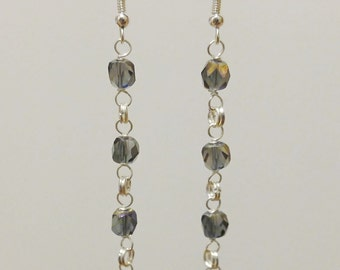 Iridescent purple and silver beaded dangle earrings handmade jewelry