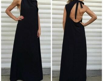 Black Extravagant Sleeveless Maxi Dress / Oversize Backless Dress / Loose Elegant Dress / Unique Maxi Dress / EXPRESS SHIPPING