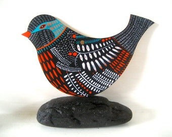 Commission personalised Large Wooden hanging folk art bird - Hand Painted by Michelle Campbell Art