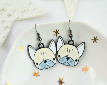 Dog earrings - dog head earrings - Rockabilly - funny jewelry - Animal jewelry - Enamel earrings - Neon earrings - Funky - funny gift