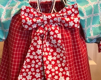 12-24 mos baby girl Peasant Dress with contrasing bow tie, cuffs, and sleeves
