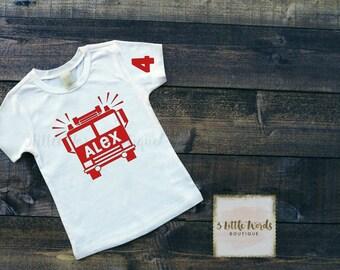 Firetruck Birthday Shirt | Toddler Fire Truck Birthday Shirt | Toddler Birthday Firetruck t-shirt