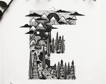 Letter ''E'' A4 Vertical size Print, printed on White 250g/m paper. Type, Landscape Mountains, Bear, Forest, River. Designed by Menisart