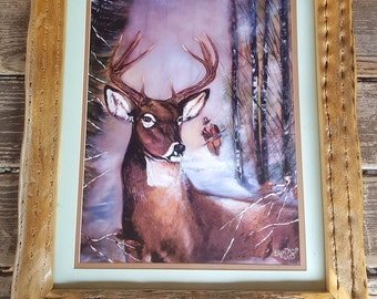 16''x20'' cactus framed print from original hand painting featuring a deer and hunter