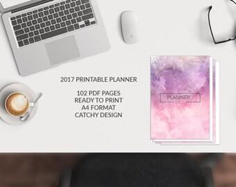 2017 Planner, 2017 Printable Planner, 2017 Calendar, Personal Planner, Printable Agenda, Digital Print, 2017 Monthly Planner