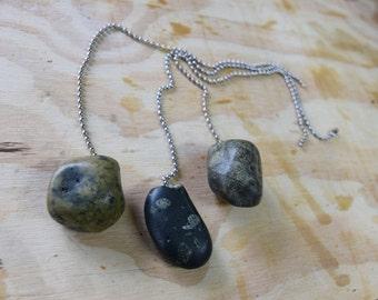 Black Stone Ceiling Fan Pull, Dark Stone Decor and Accessory, unique fan pull, chain pull, lamp pull, fan accessory, silver chain